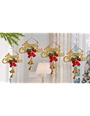 TIED RIBBONS Christmas Decoration for Home Door Hanging Merry Christmas Jingle Bells-Pack of 4