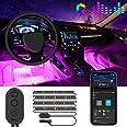 Striscia LED Auto con APP, Govee Luci LED Interne per Auto con 48 LEDs 9 Colori Multicolore Impermeabile, Musica sotto il cru