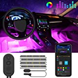Striscia LED Auto con APP, Govee Luci LED Interne per Auto con 48 LEDs 9 Colori Multicolore Impermeabile, Musica sotto il cru