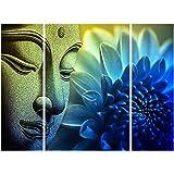 SAF Set of 3 Buddha 6MM MDF UV Textured Home Decorative Gift Item Painting 18 Inch X 12 Inch SANFJM1245