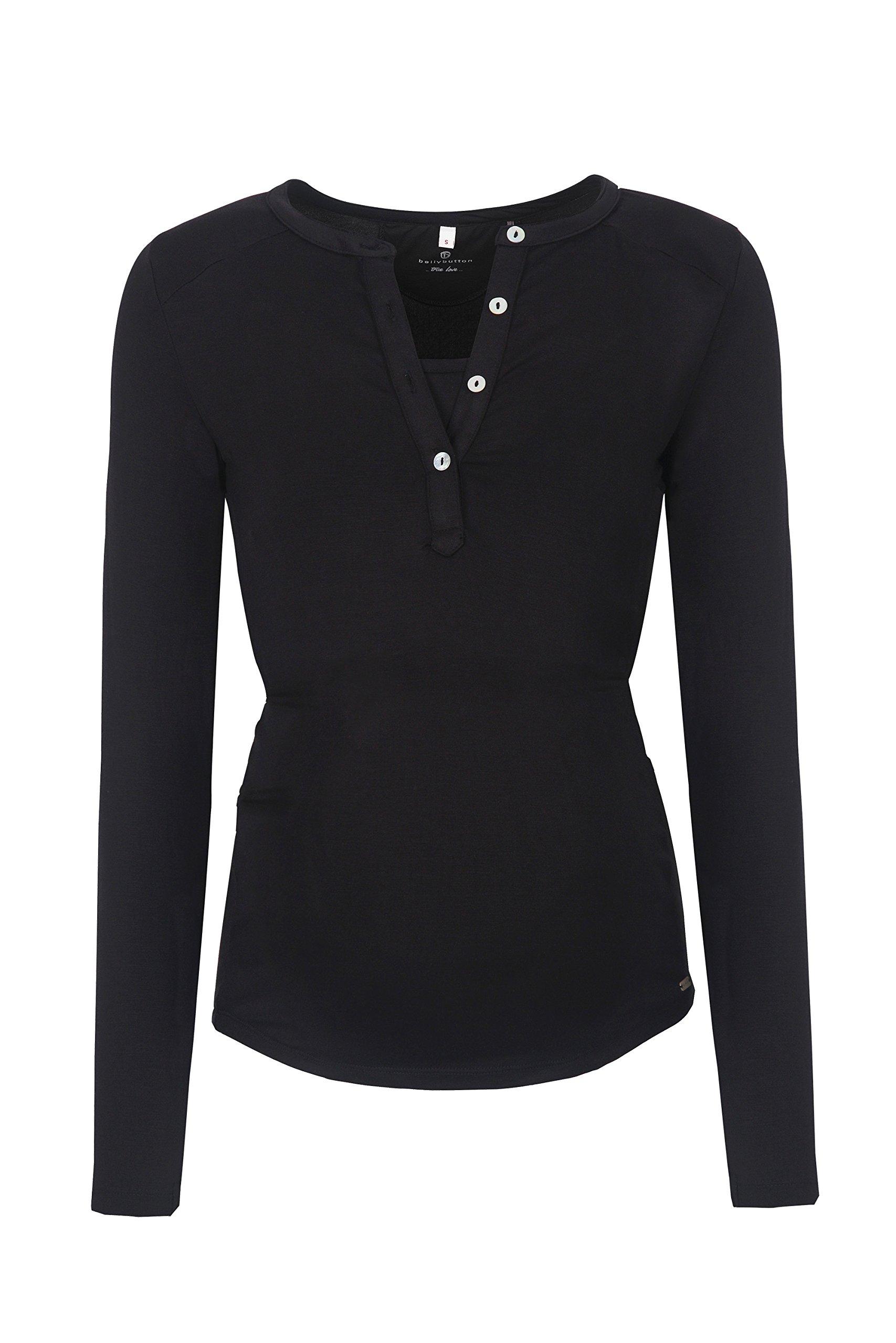 bellybutton Julia-Stillshirt 1/1 Arm, Maglie a Maniche Lunghe Premaman Donna, Schwarz (Black 1048),