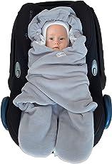 Baby Fußsack für Kinderwagen, Einschlagdecke Maxi cosi, Babyschale - für Übergangszeit Winter aus Fleece/Baumwolle SWADDYL (GrauWeiss) …