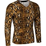 Lars Amadeus Men's Leopard Print T Shirt Party Cheetah Pattern Slim Fit Long Sleeves Top