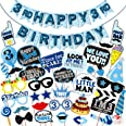 WOBBOX Third Birthday Photo Booth Party Props Blue for Baby Boy with 3rd Birthday Bunting Banner for Baby Boy in Blue, 3rd Bi
