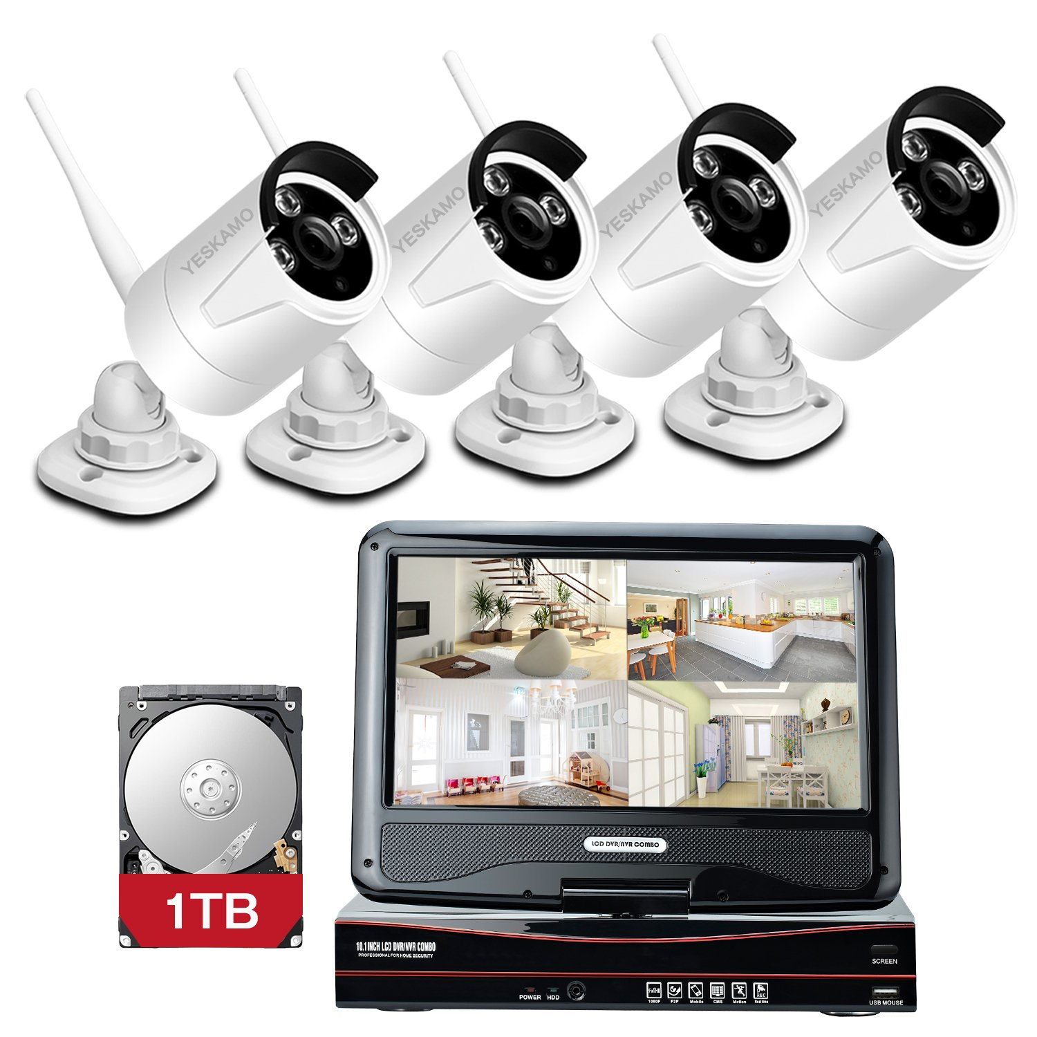 YESKAMO Wireless CCTV Camera Systems 4CH 1080P HD NVR Recorder with 4pcs 1.3MP 960P Wifi Bullet IP Cameras & 1TB HDD for…