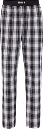 BOSS Mens Urban Pants Checked Pyjama Trousers in Cotton poplin