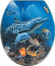 WENKO 19551100 Seduta WC Sea Life - fissaggio in acciaio inossidable, Etilene vinil acetato, 38 x 45 cm, Multicolore