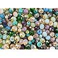 Mezcla de perlas de vidrio en diferentes colores Turquesa Verde Morado y Rosa 400 piezas para hacer bisutería