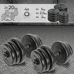 Physionics Kurzhanteln 2er Set - 30kg oder 40kg - 2 Stahl oder Eisen Hantelstangen, Kunststoff Hantelscheiben + 4 Sternverschlüsse - Gewichte, Hantelset