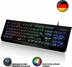 ⭐️KLIM Domination - DEUTSCHE - Mechanische RGB-QWERTZ-Tastatur - Neue 2018 Version - Blaue Tasten - Schneller, Präziser, Angenehmer Tastenanschlag - 5 Jahre Garantie - VOLLSTÄNDIGE FREIHEIT BEI DER FARBAUSWAHL PC PS4
