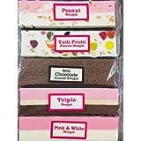 Nougat Bar Gift Selection - Milk Chocolate Covered - Tutti Frutti - Pink & White - Peanut - Triple Nougat - 5 x 150g…