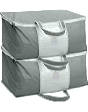 HomeStrap Set of 2 Underbed Storage Bag, Storage Organizer, Blanket Cover with Front Handle - Grey
