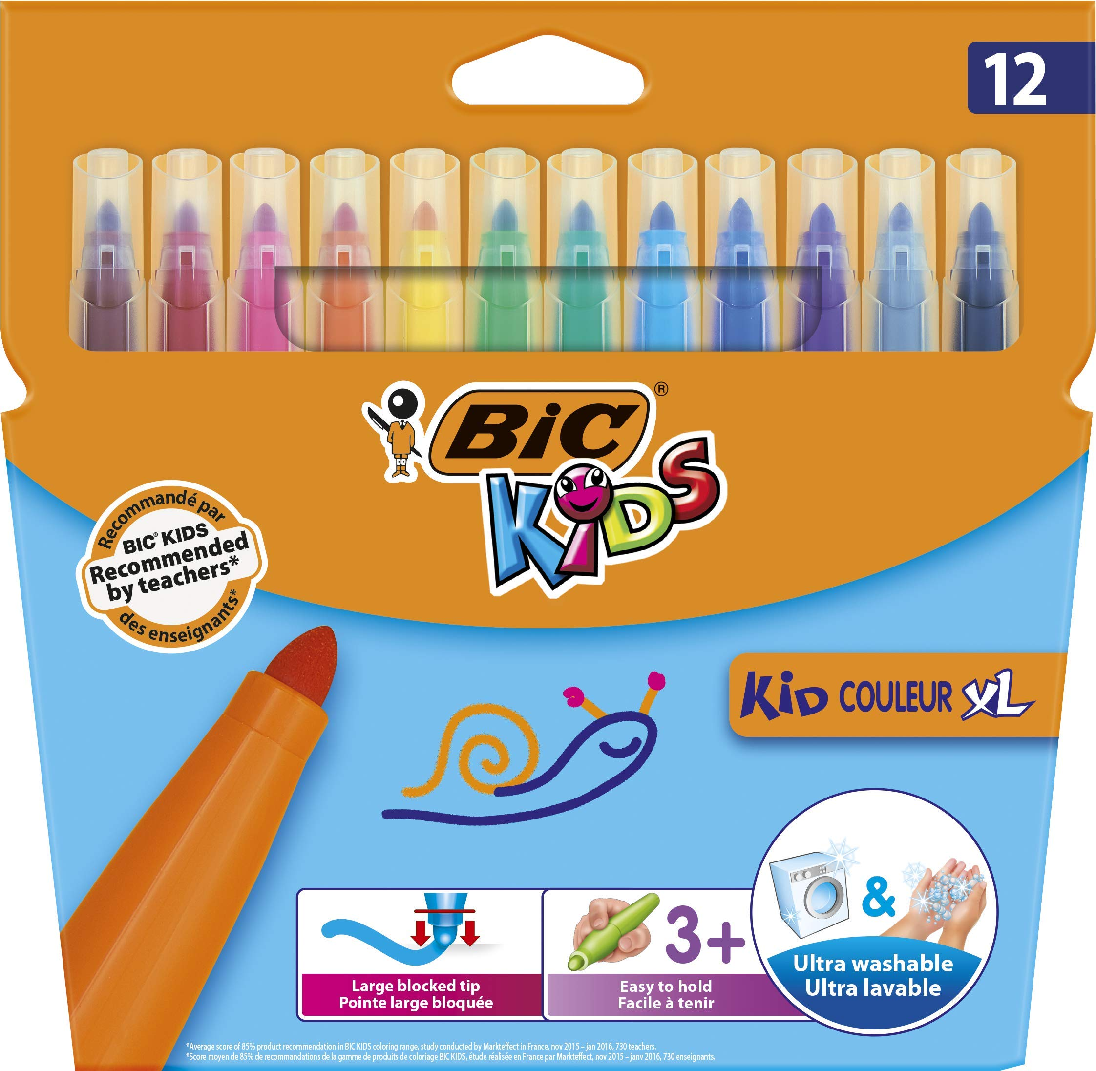 BIC Kids Kid Couleur XL rotuladores Punta Ancha – colores Surtidos, Caja de 12 unidades