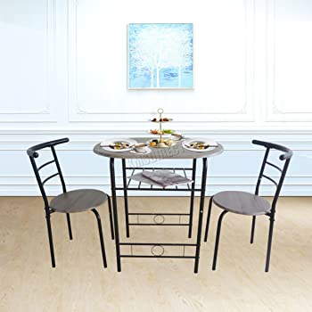 WestWood Compact Dining Table Breakfast Bar With 2 Chair Stool Set Metal Wooden MDF Modern Kitchen