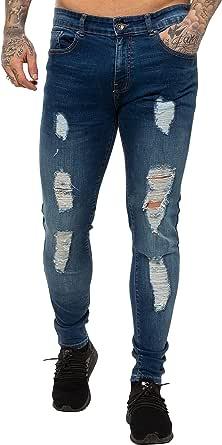 New Mens ENZO Super Stretch Skinny Jeans Ripped Distressed Designer Midstone Wash 30 W X 30 S