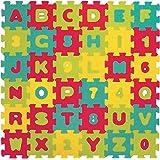 LUDI – Tapis de sol Lettres et chiffres, dès 10 mois. Puzzle géant. Lot de 36 dalles en mousse épaisses multicolores. Aide po