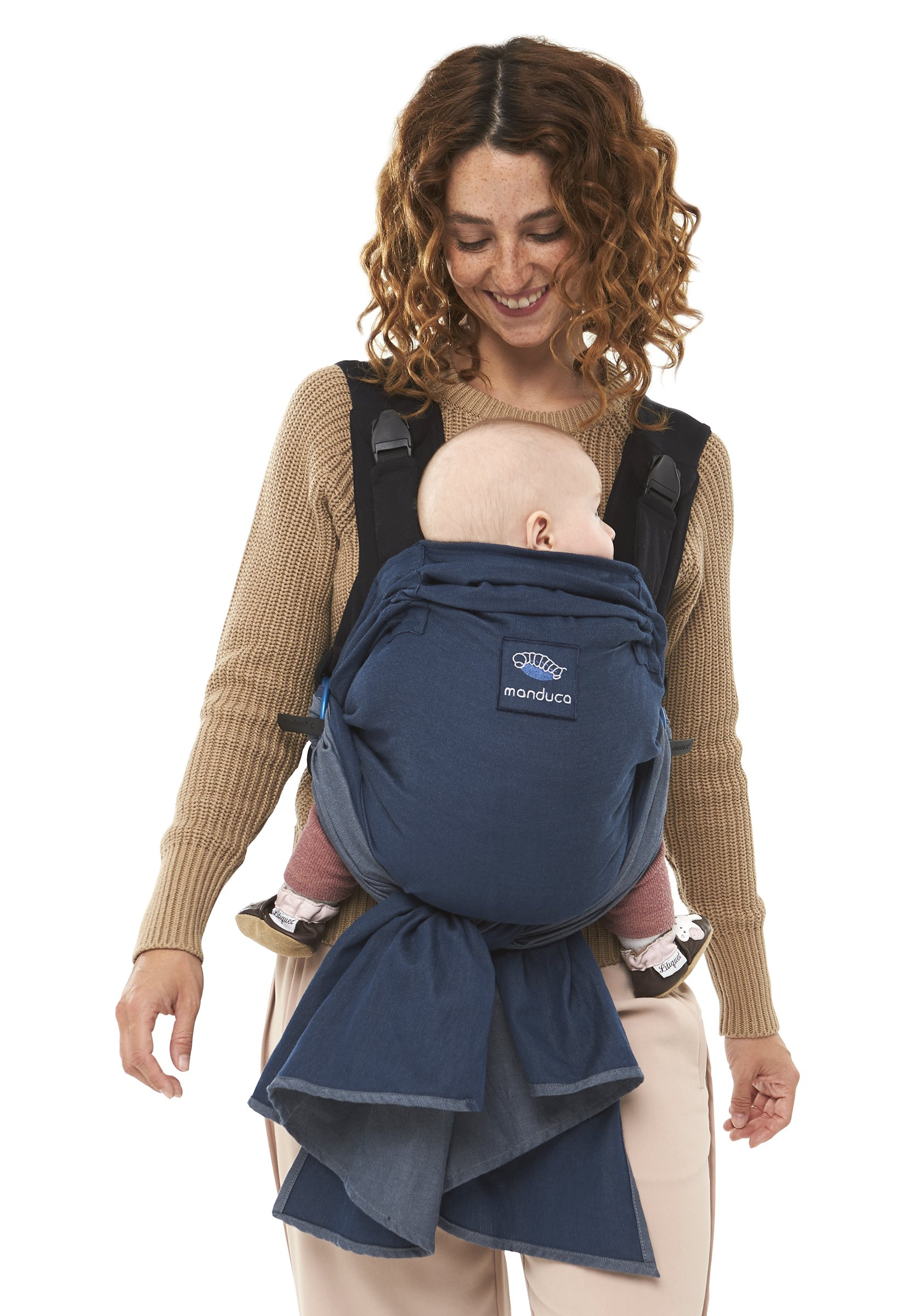 manduca Duo - Hybrid of Baby Carrier and Sling, Innovative Click &Tie System, Baby Slip-Through-Protection, Removable Hip Belt, Organic Cotton and Mesh, from Birth to 15kg (Blue) Manduca Optimized as front carrier, with slip-through protection (secure fit for your baby), supports the M position, for newborns from birth to infants up to 15 kg Especially popular with first-time parents who find it difficult to choose between a sling and a comfort carrier with buckles. Easy to use, illustrated instructions Detachable hip belt, which is only zipped on when needed (up to 140cm circumference without belt extension). Ideal for mothers with sensitive belly and after cesarean section, good weight distribution, comfortable on the shoulders. 3