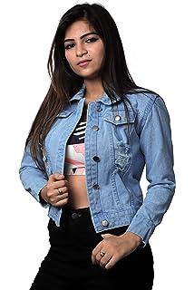 Shocknshop Solid Ripped 3/4th Sleeve Comfort Fit Regular Sky Blue Denim Jacket for Women  JKT126