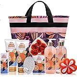 Coffret Cadeau Spa pour Femme avec Panier, 10Pcs Coffret de bain à l'orange douce Compris Bain Moussant, Lotion pour le Corps