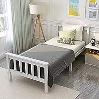 Modern Luxe Lit simple en bois de pin massif avec sommier à lattes et tête de lit - Pour matelas de 200 x 90 cm - Blanc…