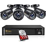 Anlapus 1080P Sistema de Seguridad 8 Canales H.265+ Grabador DVR con 4 CCTV Cámaras de Vigilancia Exterior, 1TB Disco Duro, I