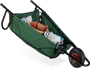 Relaxdays Schubkarre faltbar, groß, 90 l, bis 30 Kg, Stahl, Polyester, HxBxT 30 x 66 x 160 cm, Faltschubkarre, zum Aufhängen, grün