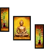 SAF UV Textured ' Buddha ' Print Framed Painting Set of 3 for Home Decoration – Size 35 x 2 x 50 cm