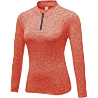 WOWENY Giacca Sportiva Termica per Donne, T-Shirt da Donna da Corsa Sportive a Maniche Lunghe e con 1/4 Zip Tops (più…