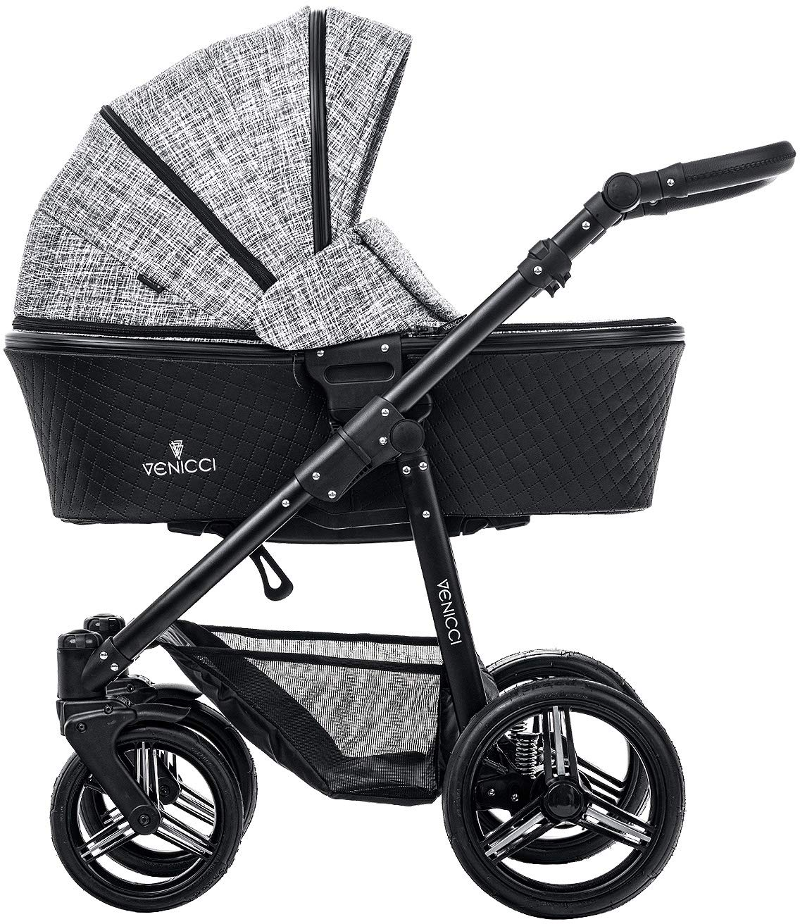 Venicci Shadow 2-in-1 - Fashion Black Travel System Venicci Also includes: Changing bag, Apron, Rain cover, Mosquito Net, Cup holder Carrycot: L 102cm W 61cm H 112 cm Age suitability: From birth to 6 months Seat unit: L 95cm W 61cm H 112cm Age suitability: From 7 to 36 months 1