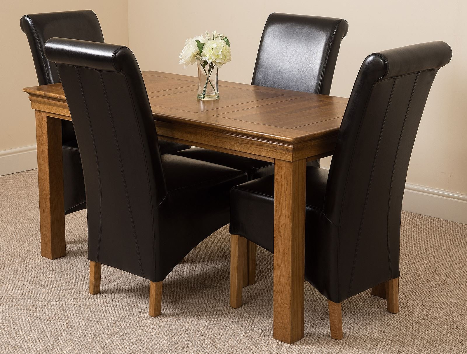 81uCmX2jJTL - French Rustic Solid Oak 150 cm Dining Table with 4 or 6 Montana Dining Chairs