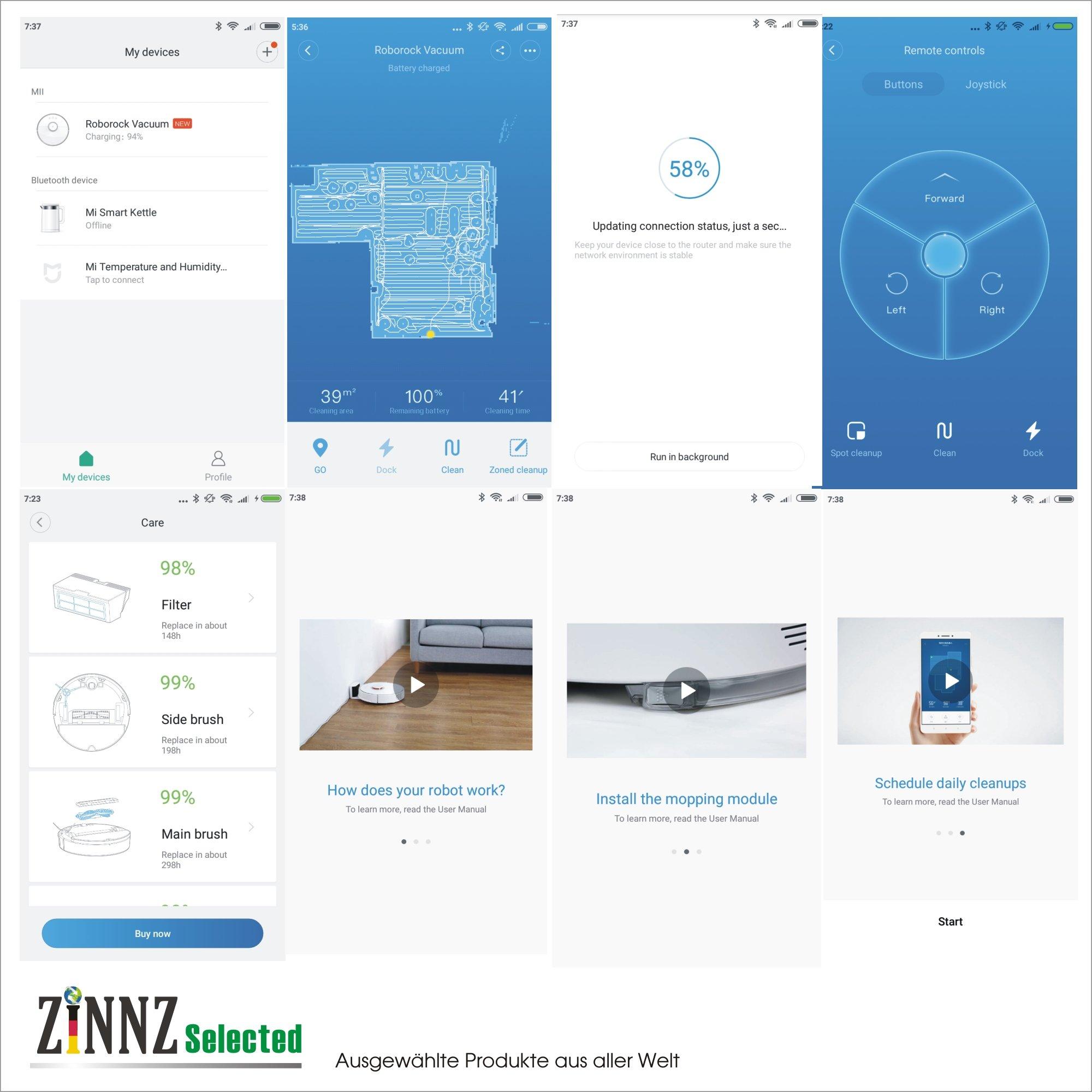 3 Jahre Garantie XIAOMI Saugroboter 2.te Generation EU Version Roborock S50 mit Wischfunktion App Control ZINNZ Selected