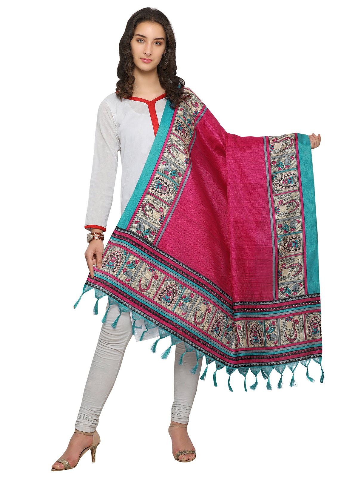 Kanchnar Red and Turquoise Colored BhagalpuriDupatta