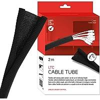 LABEL THE CABLE LTC 5110 gewebter Kabelmantel - Kabelschlauch, Kabelschutz, Kabelkanal, Schwarz, 2M