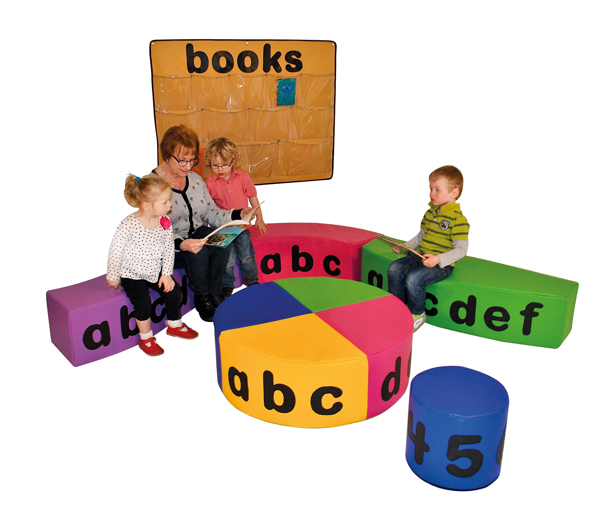 NURSERY READING CORNER with NUMBERS and LETTERS (Large Set) Child Evolution Our reading furnitures are designed for pre-school and early primary aged children. The soft foam pieces have letters and numbers on to encourage recognition and a fun approach to learning. Available in two standard sets. Although we can also supply different configurations as well as individual pieces 2 years manufacturing warranty. Delivery in 3-5 working days 1