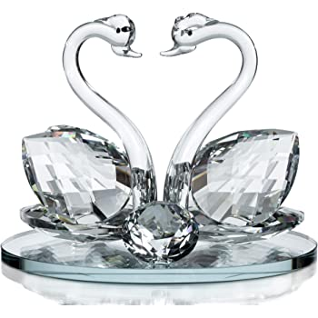 9b4bc2339 Decorative Crystal Glass Animal Double Swan Model with swarovski crystal  elements Giftware Present (set of 2)