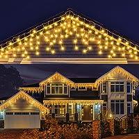 LED Lichterkette Eisregen, AKASUKI 9M 240 LED Lichtervorhang mit 8 Beleuchtungsmodi, Eiszapfen Lichterkette Innen und…