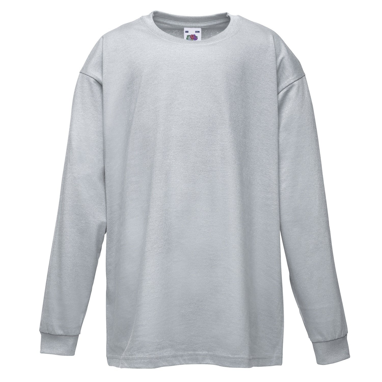Plain black t shirt quality - Fruit Of The Loom Childrens Kids Long Sleeve Cotton Value T Shirt T Shirt Tee Shirt Amazon Co Uk Clothing