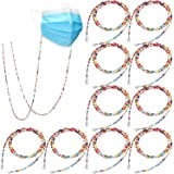 10 Pieces Face Protector Lanyard with Beads Face Covering Holder Protector Clip Anti-losing Face Protector Holder Assorted Co