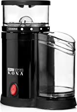 KONA Electric Burr Grinder | French Press Coffee Bean Grinder Produces Coarse to Medium Grinds, Small Coffee Mill Saves Space On Any Counter Top