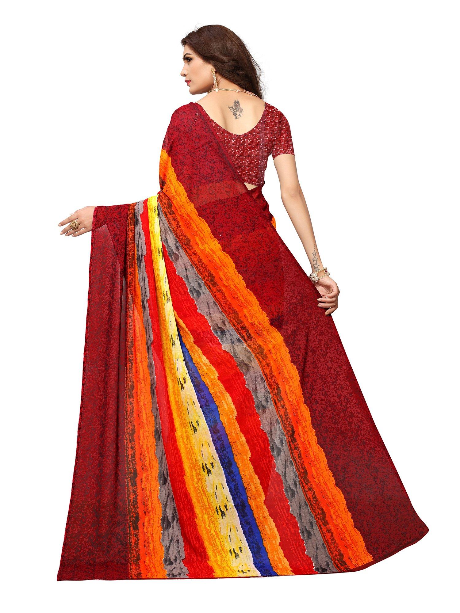 ba95d86740d Applecreation Women s Georgette Saree (Georgette14008 Multi-Coloured  Free  Size)