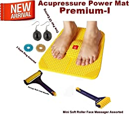 Box On Magic Acupressure Power Mat-2-K with Magnets n Pyramids for Pain Relief And Total Health (Premium - I) + Health Products +1 Big Face Massagers + One Pair Ear Ring Set-43