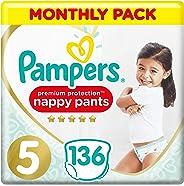 Pampers Premium Protection Windelhose Gr. 5, 136 Windelhosen, 12-17 kg, Monatspackung, sanftes Hautgefühl in Windelhöschen, G