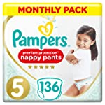 Pampers Premium Protection Nappy Pants Size 5, 136 Nappy Pants, 12-17 kg, Monthly Saving Pack, Gentlest Touch On Skin In...