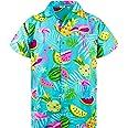 King Kameha Funky Hawaiian Shirt Men Shortsleeve Frontpocket Hawaiian-Print Melon Flamingo Fruits