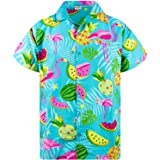 Camisa Hawaiana enrrollada | Hombres | XS-6XL | Manga Corta | Bolsillo Frontal | Hawaiano-Imprimir | Flamingo Melon