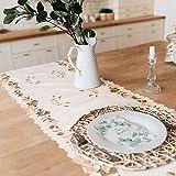Tayis Chemin de Table 14 x 72 Pouces, Chemin de Table de Broderie Florale pour décor de Ferme de fête de Mariage (Poudre de R