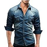 Legou Men's Denim Long Sleeve Pocket Dress Shirt