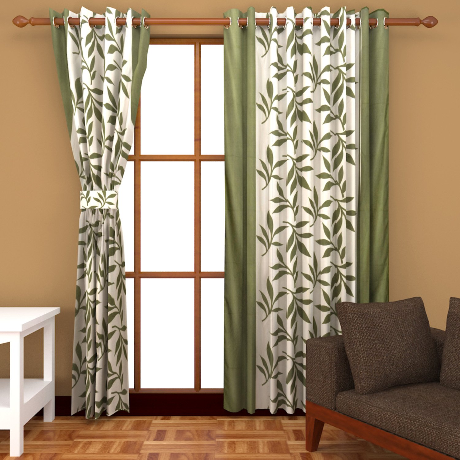 Buy Freehomestyle Floral Window Curtains Green Set of 3 Online