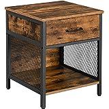 VASAGLE Table de Nuit, Table de Chevet avec 1 tiroir et 1 Compartiment Ouvert, Table d'appoint, Cadre en Acier, 45 x 45 x 55