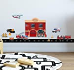 Fire Station Brigade Wall Sticker ((17 Piece) Decal for a Fun Firefighter Boys Bedroom Wall Decor Decoration